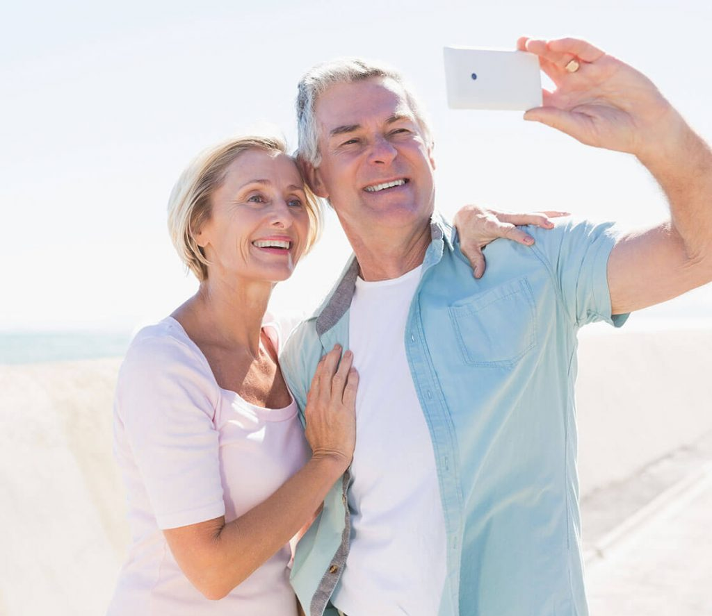 A couple posing for a selfie together